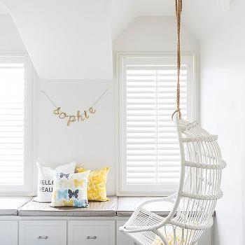 White Cottage Teen Girl Room With White Hanging Rattan Chair