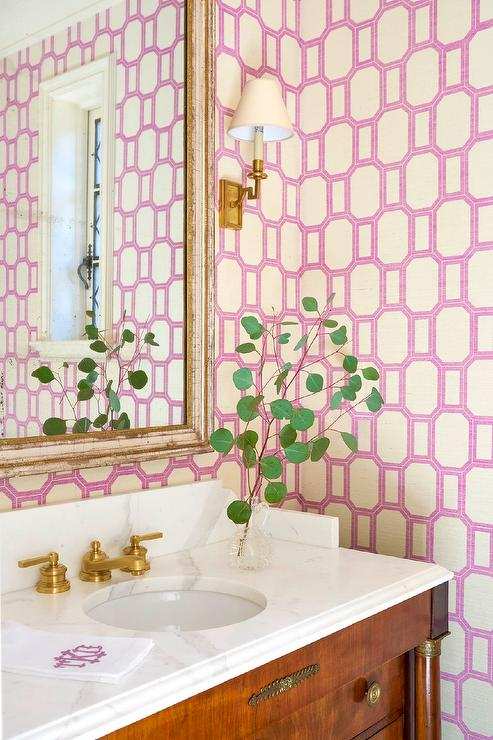 French Washstand with Phillip Jeffries What A Gem Orchid on Ivory Wallpaper