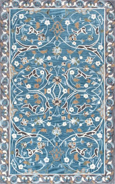 Blue And Gray Swirl Floral Pattern Rug