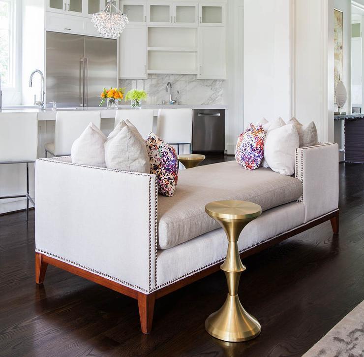 Nice Tete E Tete Sofa With Nailhead Trim And Confetti Pillows