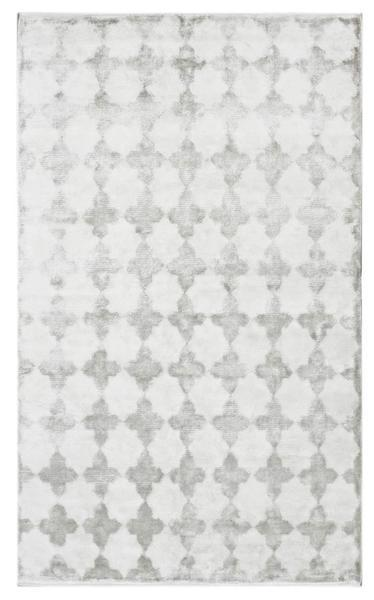 Silver Washed Geometric Patterned Rug