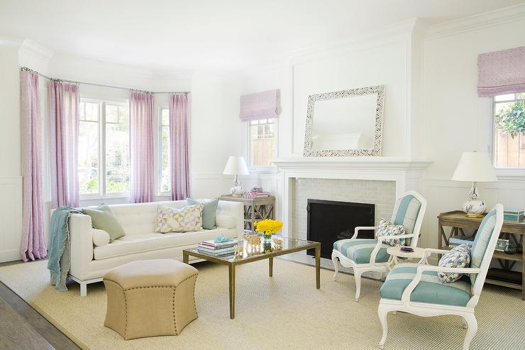 Blue And Lavender Living Room Design Transitional
