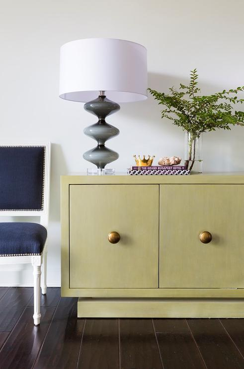 Yellow Buffet Cabinet With Navy Blue French Square Back Dining Chairs
