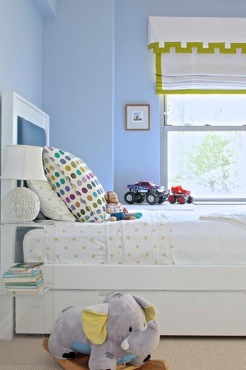 Blue Boys Room blue and green shared boys bedroom - transitional - boy's room