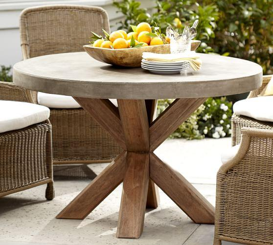concrete top wood base rectangular dining table. Black Bedroom Furniture Sets. Home Design Ideas