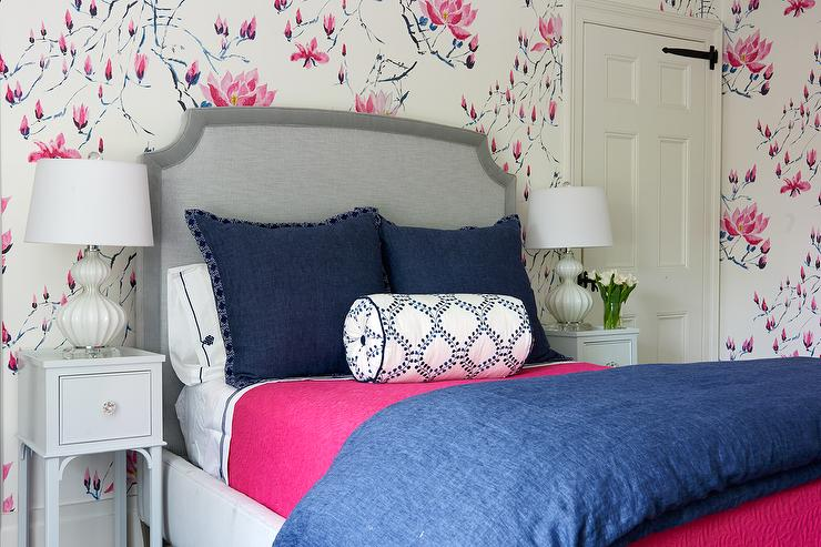 Pink And Blue Bedroom With Gray Bed And Nightstands