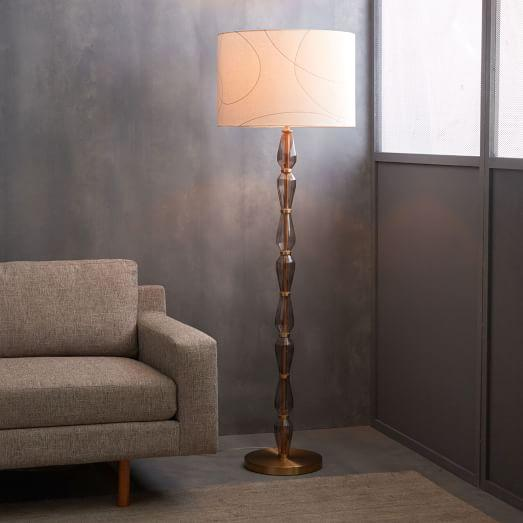 Glass base white drum floor lamp faceted glass base white drum floor lamp aloadofball Images