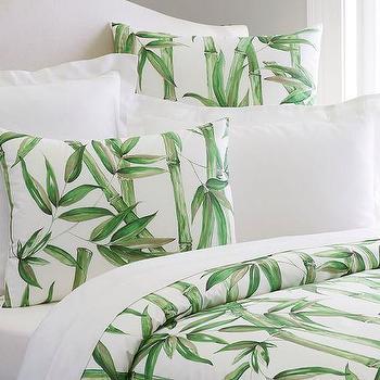 Green Bamboo Print Organic Duvet Cover