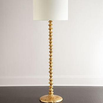 Anchorage gold marble base floor lamp gold and white linen shade floor lamp aloadofball Image collections