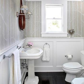 Powder Room Beadboard Ceiling Design Ideas