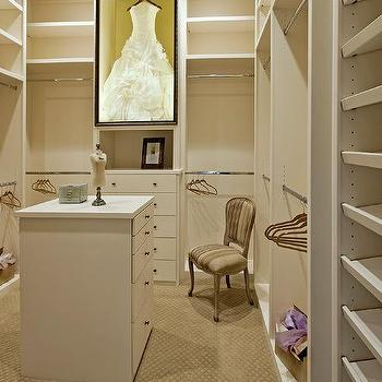 Walk In Closet With Wedding Dress Display Case