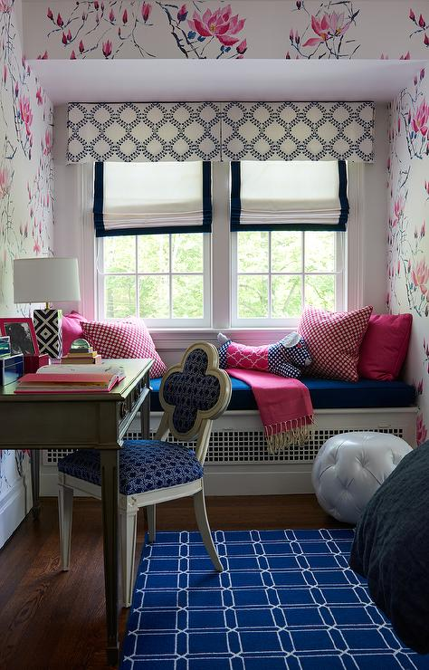 Pink and Blue Bedroom with Gray Bed and Nightstands ...