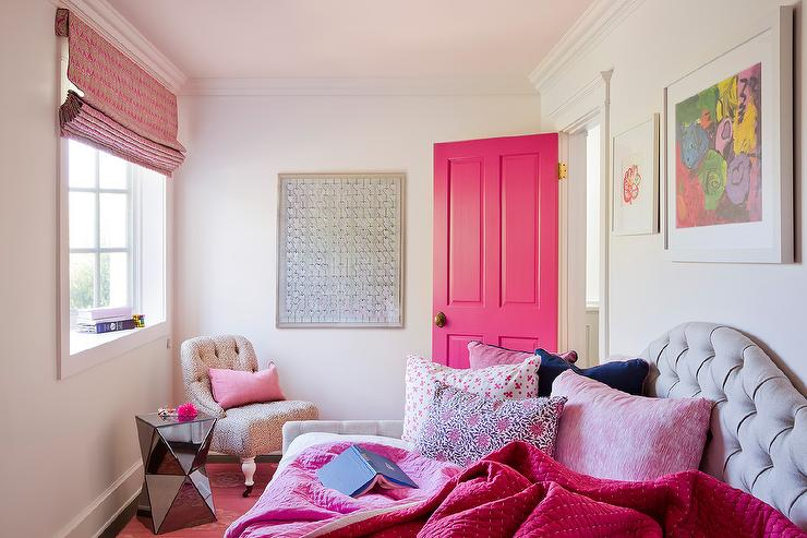 Pink and Gray Bedroom with Pink Door and Gray Tufted Daybed ...
