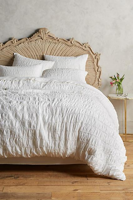Plum And Bow Frayed Rose White Duvet Cover