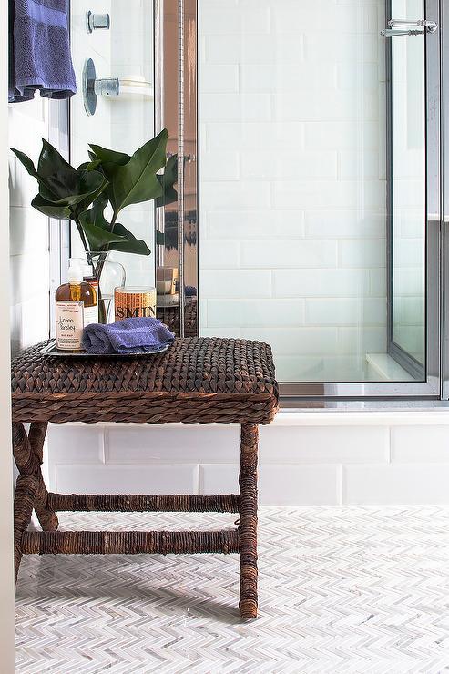 Seagrass Bathroom X Stool With Marble Chevron Floor Tiles