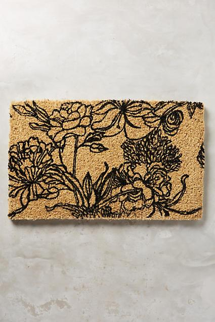 Tan And Black Line Floral Drawing Doormat