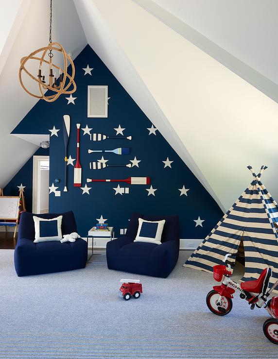 Nautical Playroom With Navy Striped Teepee And Decorative