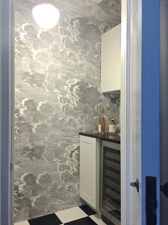 Wet Bar With Fornasetti Nuvole Wallpaper Contemporary Kitchen
