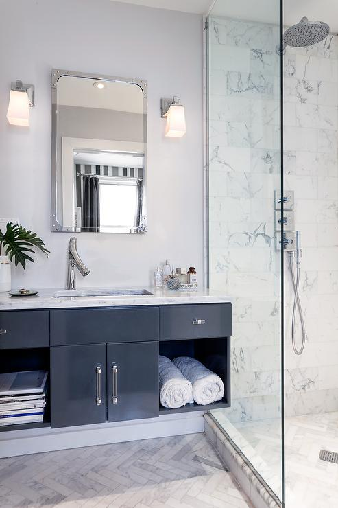 White and Black Bathroom with Floating Black Washstand