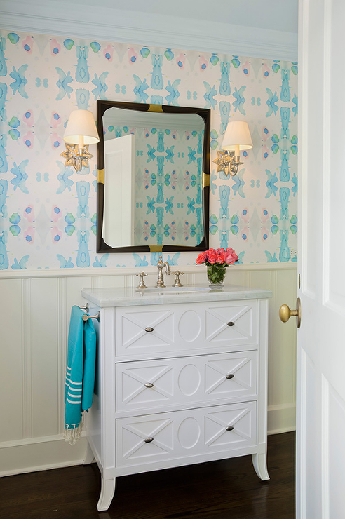 White And Blue Powder Room Concept Transitional Bathroom