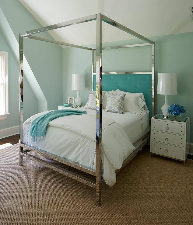 Excellent Aqua Blue Bedroom with Stainless Steel Canopy Bed and Aqua Tufted  KD27