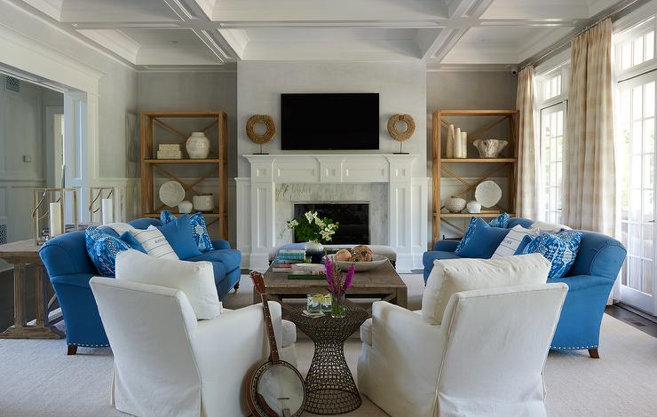 Transitional Living Room With Blue Sofa And Greek Key Rug