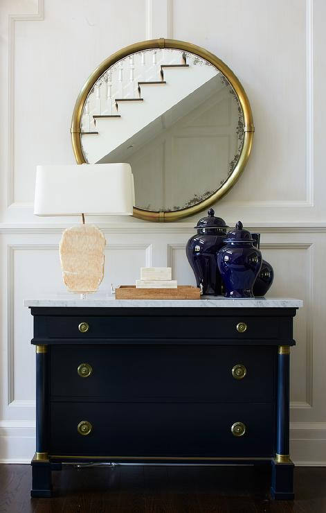 Blue Foyer Cabinet : Diamond pattern chest with gold pagoda mirror