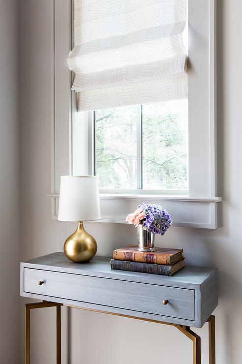 Window Console Table ~ Foyer nook with leaded glass window and half moon table