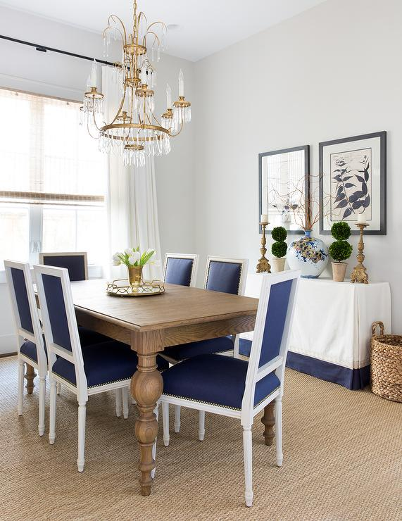 White Parsons Dining Table with Worlds Away David Silver ...