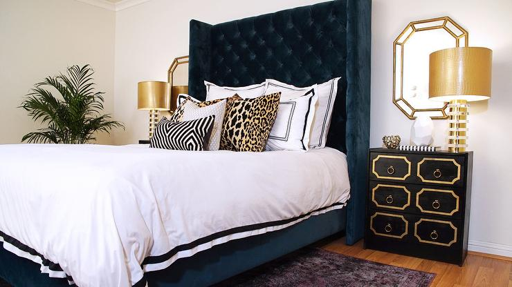 Glamorous Navy Blue And Gold Hollywood Regency Bedroom Showcases A Stunning  Tall Navy Blue Velvet Tufted Wingback Headboard Supports A Navy Blue Velvet  Bed ... Part 52