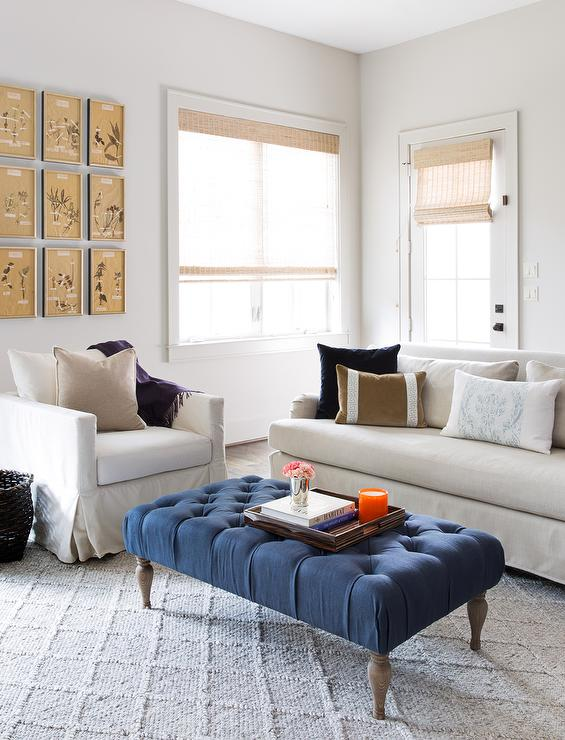 Linen Sofa and Chair with Blue Tufted Bench as Coffee Table