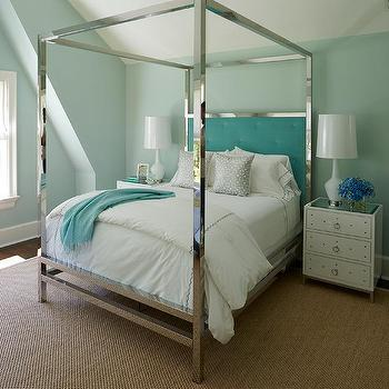 Stainless Steel Canopy Bed With Aqua Tufted Headboard Design Ideas