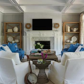 Lillian August · White And Blue Living Room With U Shaped Furniture  Arrangement