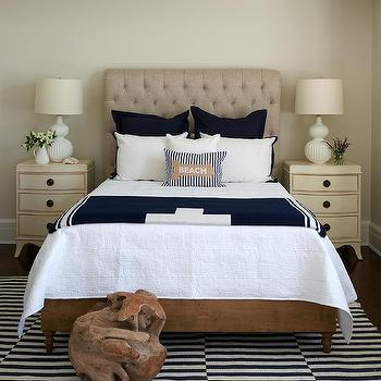burlap tufted headboard with cream french nightstands - Rug Design Ideas