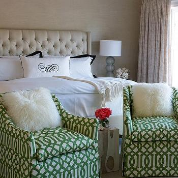 Lillian August · Cream Tufted Bed With White And Black Bedding And Green  Trellis Chairs