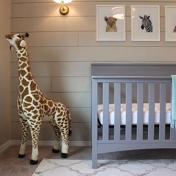 Beige Boy Nursery With Gray Delta Crib And The Animal Print Shop Prints