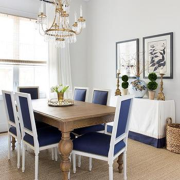 Gray Acai Dining Table With Blue French Chairs
