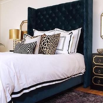 Navy Blue Wingback Bed With Leopard Pillows Hollywood
