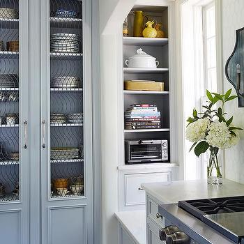 Gray China Cabinet With Glass And Metal Doors