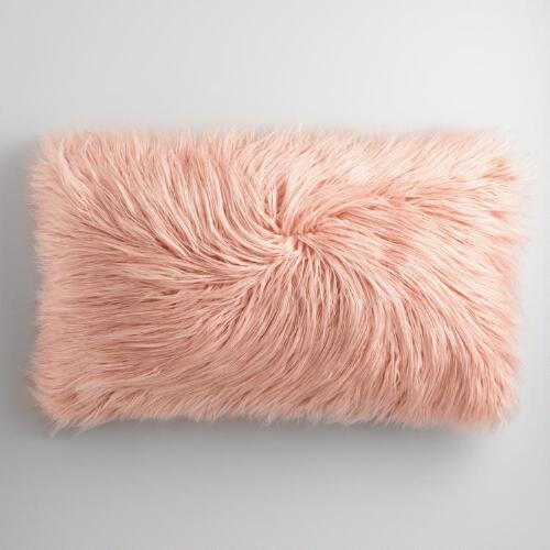 Pink Rose Herringbone Linen Lumbar Pillow