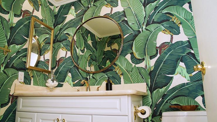 Green Powder Room With Banana Leaf Wallpaper