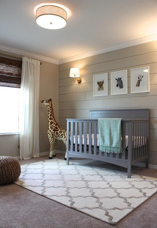 Beige And Gray Boy Nursery With Shiplap Accent Wall