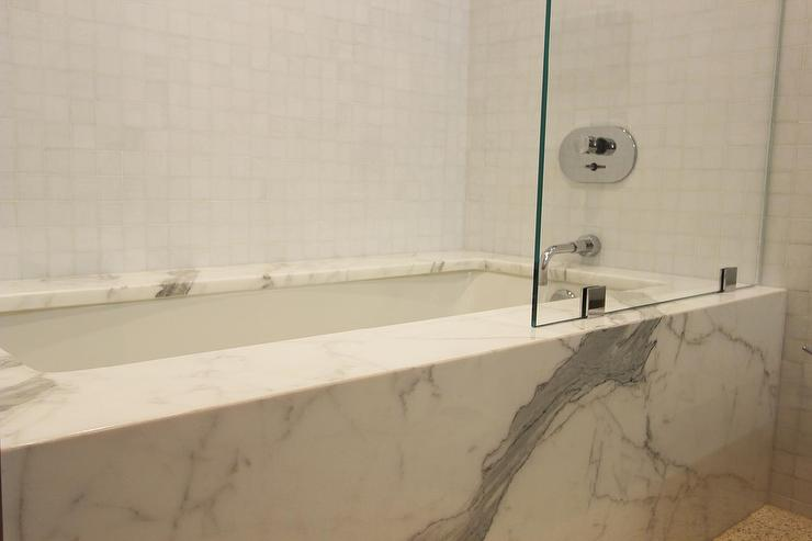 Bathroom Glass Partition statuary marble clad tub with glass partition - transitional