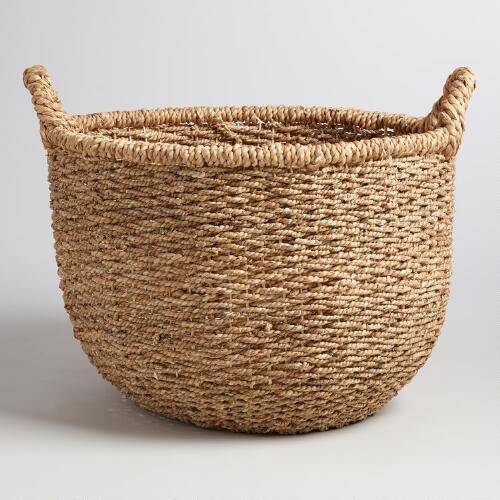 Tan Woven Round Tote Basket & Round Woven Cotton Basket - Products bookmarks design inspiration ...