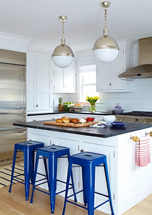 White and Blue Beach Bungalow Kitchen with Honed Black ...
