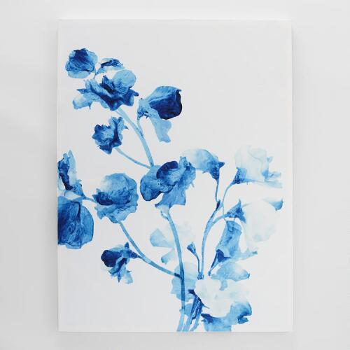 Large Blue And White Watercolor Floral Motif Painting