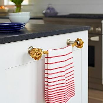 Beautiful Beach Bungalow Kitchen With Rope Towel Holder