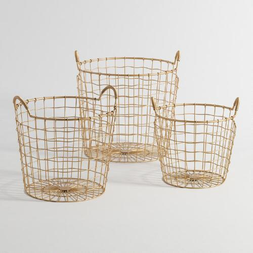 Round Wire Gold Basket - Products, bookmarks, design, inspiration ...