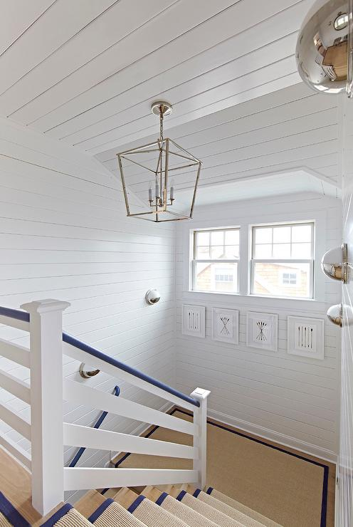 White and Blue Staircase with Shiplap Walls - Cottage - Entrance/foyer