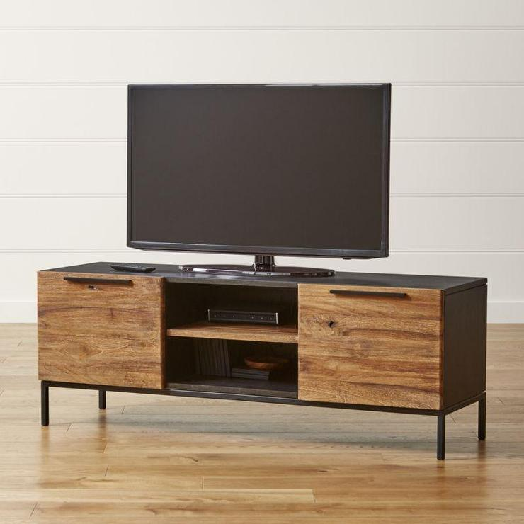 Knox Black And Brown Media Console With 2 Tall Storage